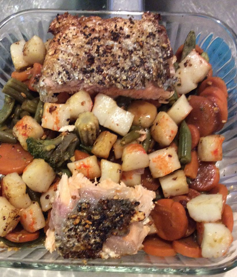 CANCER CARE: Grilled Salmon Lobster & Steamed Veggies
